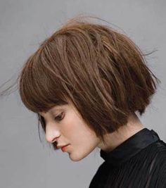 short blunt cut with bangs