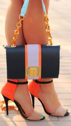 ༺♥ * Stilettos~Pumps~Heels * ♥༻ ***Lovely colorful heels and bag combo