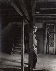 Otto Frank, Anne Frank's father and the only surviving member of the Frank family revisiting the attic they spent the war in, 3 May 1960