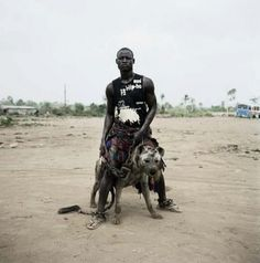 Man with a hyena.