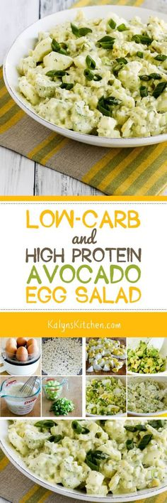 We totally swooned over this Low-Carb and High Protein Avocado Egg Salad (with Cottage Cheese), and this tasty egg salad combination is also Keto, low-glycemic, gluten-free, and South Beach Diet friendly. If you like egg salad, I promise you'll make this one over and over! [found on KalynsKitchen.com]