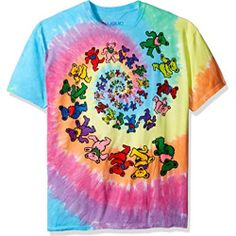 86661785adc0 Grateful Dead Men s Spiral Bears Tie Dye T-shirt Multi - 100% Cotton Made