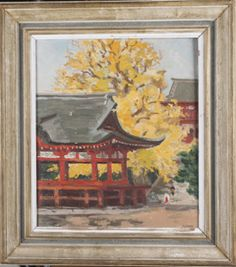 FRAMED OIL ON CANVAS OF A JAPANESE PAGODA WITH A LARGE TREE BEHIND IT, FILLED WITH YELLOW LEAVES. MEASURES 25X26 INCHES.