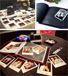 Instead of a traditional guestbook, make it a photo album. Guests can take photos of themselves and scrawl their messages onto the Polaroids...