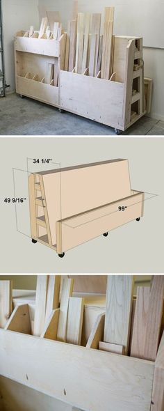 Finding a place to store lumber and sheet goods can be challenging. This lumber cart keeps them all organized with shelves to store long boards, upright bins for shorter pieces, and a large area to hold sheet goods. Plus, the cart rolls, so you can push i Workshop Storage, Storage Shed Plans, Workshop Organization, Garage Organization, Garage Storage, Storage Ideas, Diy Storage, Storage Cart, Storage Place