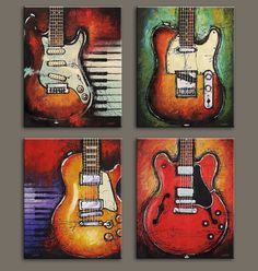 4 Piece Guitar Canvas Prints – Great Guitar Gifts