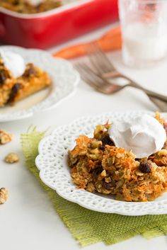 Heavenly Carrot Cake Baked Oatmeal  (maybe a little less maple syrup though)