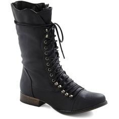 ModCloth Military Into the Night Boot (22 AUD) ❤ liked on Polyvore featuring shoes, boots, black, combat boots, footwear, flat boots, boot - bootie, ankle boots, wide width ankle boots and short boots