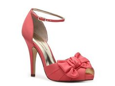 So cute! Coral for me, and maybe coral dresses with ivory shoes for the 'maids? That would be some good color pop.