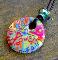Donut Pendant with Iridescent Blue Glass by purplecactusstudios