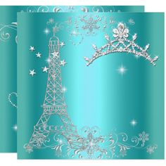 Shop Sweet 16 Teal Blue Glitter Tiara Eiffel Tower Invitation created by Zizzago. Sweet Sixteen Parties, Lace Heart, Party Stores, Blue Glitter, Paper Design, Teal Blue, White Envelopes, Card Making, Tapestry