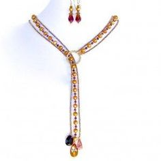 Garnet and Amber Lariat - a beautiful necklace, crafted by a wonderful lady