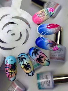 """All about Miami' by Justyna Maris #nails #nail #indigo #indigonails #nailsart #miami #summernails #springnails #hotnails #hot #omg #wow"