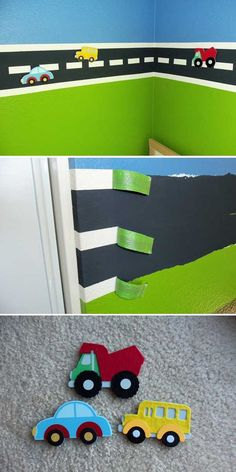 Make a boy's room makeover by painting a magnetic road on the wall.