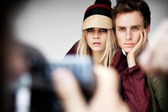 Eddie Redmayne and Cara Delevingne behind the scenes at the Burberry Spring/Summer 2012 Campaign shoot