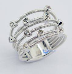 Contemporary Modern Spiral Fashion Ring CONSTANCE Sterling Silver Bezel Set CZ