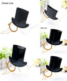 [Visit to Buy]  Vintage Black Gentleman Cap Glasses with Gold Chain Party Props Cosplay Costume Favors Events Festive Party Supplies Decoration #Advertisement