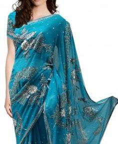 Sari Bollywood Ishika Bleu argenté