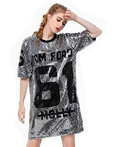 60a150b2b P&R Sparkle Glitter Sequins Hip Hop Jazz Dancing T-Shirt Dress Plus Size  Clubwear