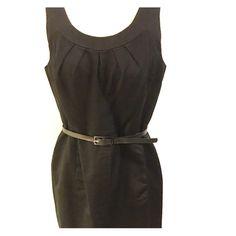Dress Black dress 66% cotton/ 34% silk AnneKlein.  Just above knee zip up back belted dress.  Scoop neck area scoop back.  Front slit pockets hidden within the front seams. Anne Klein Dresses Midi