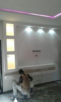 Tv Unit Interior Design, Tv Unit Furniture Design, Interior Ceiling Design, House Ceiling Design, Ceiling Design Living Room, Bedroom False Ceiling Design, Tv Unit Decor, Tv Wall Decor, Lcd Wall Design