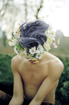 First of all, I need to figure out how to style my hair like this.  Second of all, I need to figure out how to wear flower crowns androgynously.