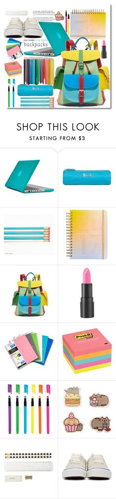 """""""Backpack"""" by marionmeyer ❤ liked on Polyvore featuring Speck, Harrods, ban.do, Grafea, too cool for school, Post-It, Pusheen, Kate Spade, Vans and backpacks"""