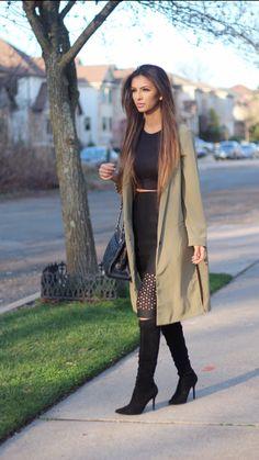 Faryal Makhdoom Khan - OOTD: Olive Overcoat & Cut Work Skirt