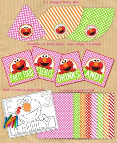 ELMO Party Package - Girls  -  PERSONALIZED - Print Yourself . by Your Printable Party. $29.00, via Etsy.