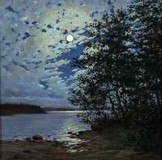 'Moonlight' oil painting ~ Thure Sundell (Finnish, 1864–1924)