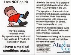 """There are all sorts of Ataxia Cards out there - this one is from the UK. I'm linking this to my """"ataxia card moment."""""""