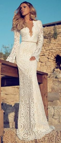 So pretty!! Stunning white lace gown