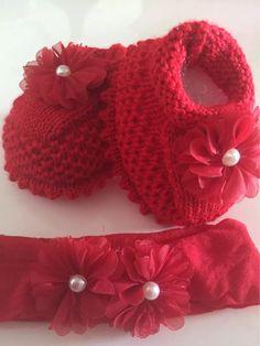 Sapatinho De Crochê Vermelho Com Pérola Lindo - R$ 55,00 em Mercado Livre