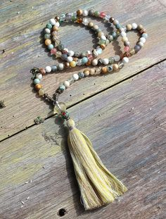 Beautiful gemstone mala necklace by look4treasures on Etsy