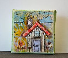little paper pieced house on a 4 x 4 chunky canvas by busygirlart