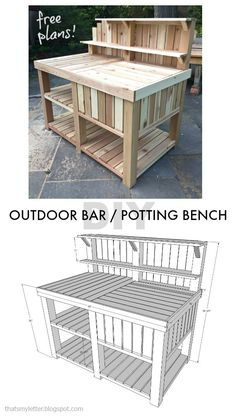 diy outdoor bar potting bench free plans