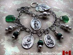Catholic Jewelry Irish Bracelet Ireland Green St by SeaBeachGlass