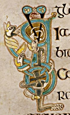 Book of Kells - initial letters Q and D with lions