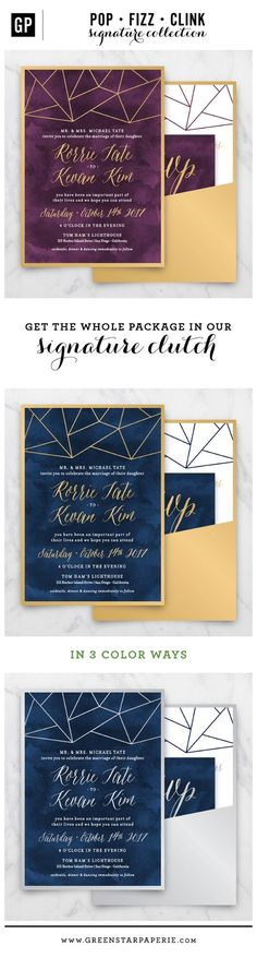 Make a statement with this modern urban wedding invitation. Perfect for a chic city wedding, this combination of geometry and watercolor expertly complements the elegant typography. All of our clutch invitations include the invite, RSVP card with printed envelope and a details card that can hold the reception info, additional event details and/or accommodations info.