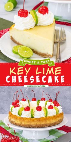 Key Lime Cheesecake - enjoy the flavor of key lime pie baked into a creamy homemade cheesecake with a graham cracker crust. Make and enjoy this easy sweet and tart dessert all year long. Key Lime Pie Cheesecake, Homemade Cheesecake, Cheesecake Recipes, Pie Recipes, Key Lime Desserts, Easy Desserts, Delicious Desserts, Best Easy Dessert Recipes, Lime Cake
