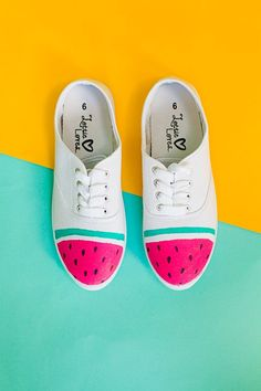 DIY canvas shoe design idea > watermelon sneakers. Easily done with a bit of paint and a sharpie. Adorable!