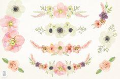 Love these pastel watercolor flower clip art pretties!