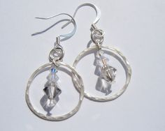 Sterling Silver Karma circle drop earrings with clear sparkly Swarovski crystals