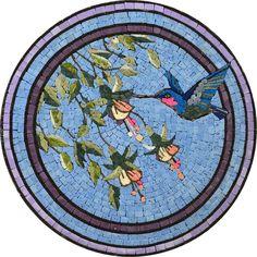 Table Top Mosaic - Mosaic Art - Mosaic Table top - Handmade Mosaic Artworks - Mosaic Tiles Patterns - Colorful Mosaic Art Ideas - Marble Tile Mosaic - Colorful Bird Art Design - Bird Floral Mosaic | #Mozaico
