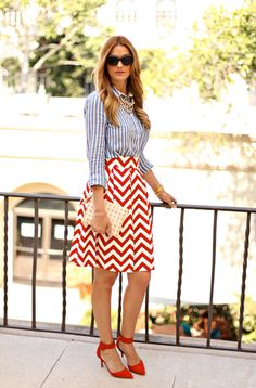 striped shirt, chevron skirt...who says you can't mix prints!!!...love it!