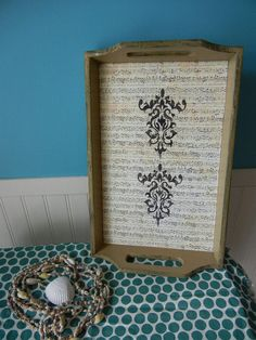 Shabby Chic/Music Serving/Cosmetic Tray by PeriwinklePelican, $12.99