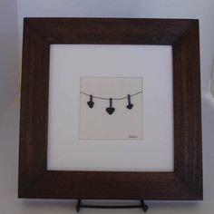 8 x 8 Love hearts clothesline perfect for Mothers Day, Original Pebble Art with Hand Made frame in your choice of stain color by Jodi Bolger