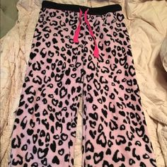 Fuzzy Pink & Black PJ Pants Cute and warm pj pants! Pink with black leopard like spots. Barely used them so condition is great! Perfect for upcoming winter nights! Intimates & Sleepwear Pajamas