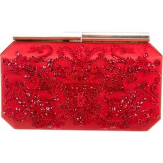 Pre-owned Oscar de la Renta Embellished Satin Clutch ($675) ❤ liked on Polyvore featuring bags, handbags, clutches, red, chain handle handbags, man bag, beaded clutches, satin purse and preowned handbags