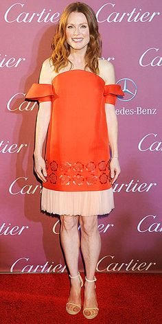 Last Night's Look: Love It or Leave It? | JULIANNE MOORE | Also at the Palm Springs International Film Festival Gala, Julianne sports an unexpected but super-chic color combo: red and nude. To keep the spotlight on her Delpozo dress, she wears minimal accessories and earth-tone makeup.